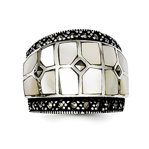 Sterling Silver Textured Polished Open back Marcasite and Simulated Mother of Pearl Ring - Size 7