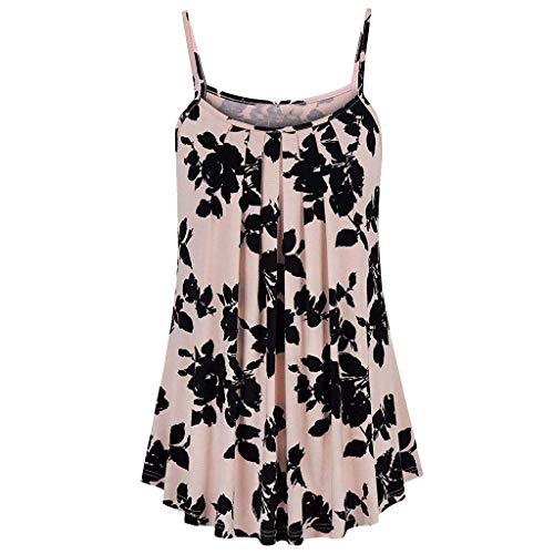 Women Tops Summer Printed Sleeveless Vest Sling Blouse Tank Tops Pink