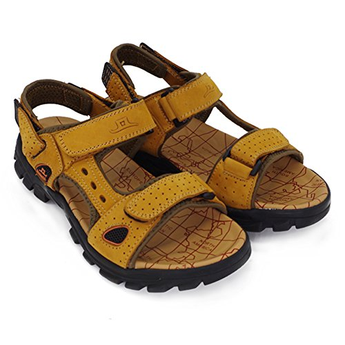 Hiking Sandals Men Walking Fishermen Leather Sports Fisherman Anti-Slip Water Open Strap Slides Traveling Comfortable (9.5-10, Yellow)