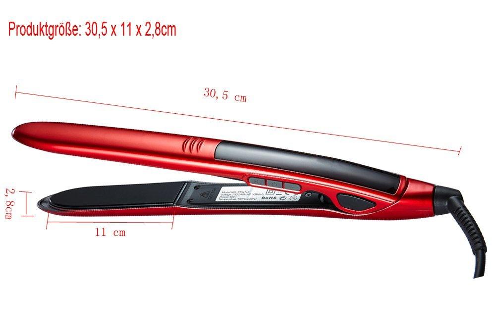 LadyHelena® Plancha de Pelo Profesional,Tecnología de Titanio,Color Rojo: Amazon.es: Salud y cuidado personal