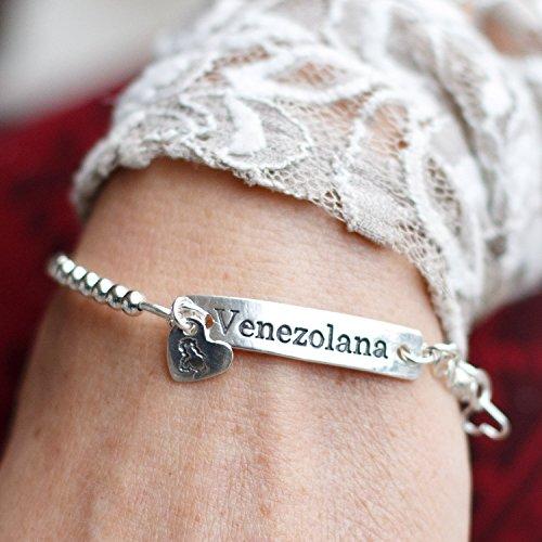 Venezuelan Silver Bracelet Adjustable Small - Medium Gift for Wife Girlfriend Friend