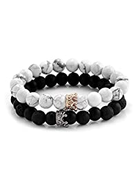 SEVENSTONE Couple Black Matte Agate & White Howlite CZ Crown Queen 8mm Beads Bracelet, 7.5""