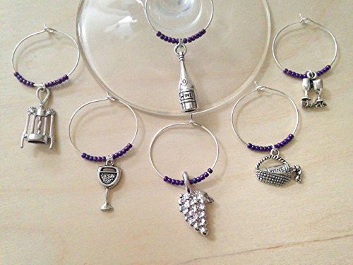 (Wine themed Wine Charms. Includes Bottle, corkscrew, grapes, wine glasses with Cheers, picnic basket, etc. Wine Lover Gift, Stocking Stuffer. Set of 4 to Set of 6. )
