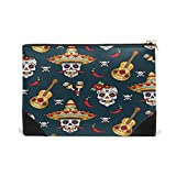 chili bins - BLEFE Mexican Sugar Skull with Chili Pepper Makeup Cosmetic Bag Pouch Travel Bag for Women Girls