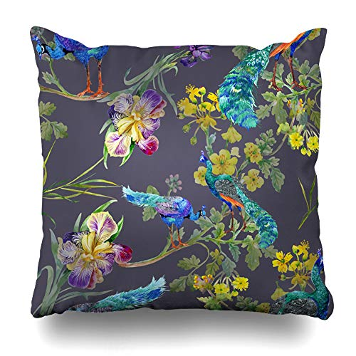 Ahawoso Decorative Throw Pillow Cover Spring Blue Pattern Watercolor On Purple Peacock White Feather Abstract Design Zippered Design 20