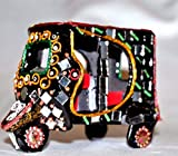 Decorative Miniature Rickshaw Mirror Beads Collectible Handmade Pakistan Art (4 inch)
