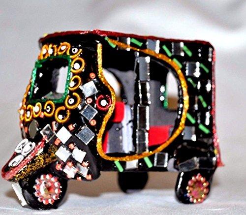 Decorative Miniature Rickshaw Mirror Beads Collectible Handmade Pakistan Art (4 inch) by Decorinhome