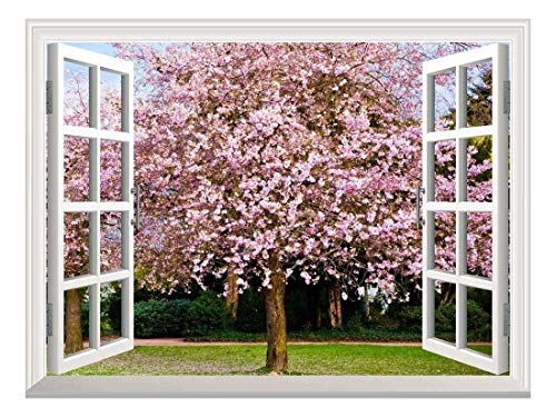 Removable Wall Sticker Wall Mural Sakura Flowers Blooming Creative Window View Wall Decor