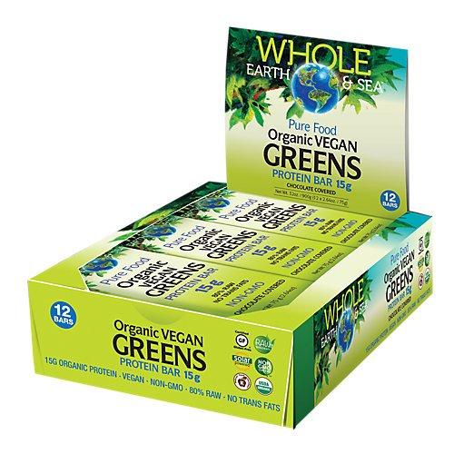 Whole Earth & Sea Organic Vegan Greens Protein Bars Natural Factors 12 bars (1 .75g) Box