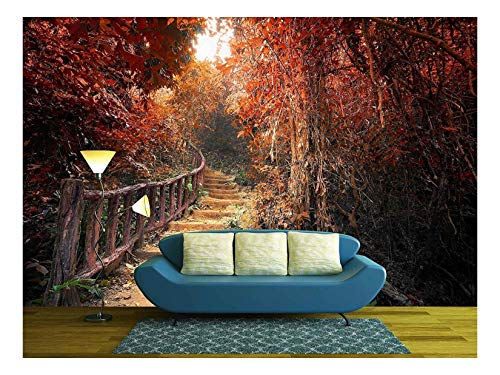 Autumn Way - wall26 - Fantasy Forest in Autumn Surreal Colors. Road Path Way Through Dense Trees - Removable Wall Mural | Self-Adhesive Large Wallpaper - 100x144 inches