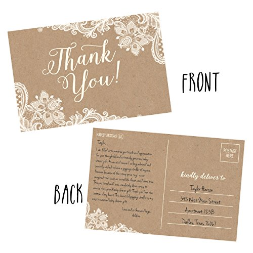 50 4x6 Kraft Thank You Postcards Bulk, Cute Rustic Matte Blank Thank You Note Card Stationery Set For Wedding, Bridesmaid, Bridal Baby Shower, Teachers, Appreciation, Religious, Business, Holidays Photo #2