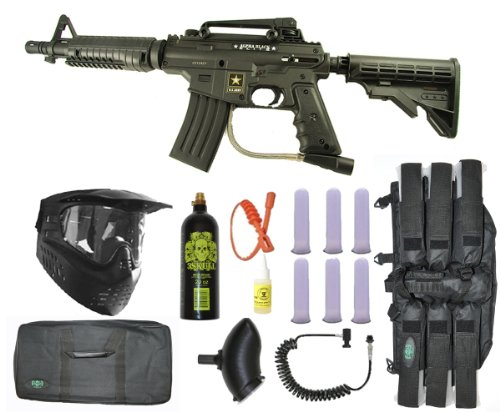 Gun Sniper Set - US Army Alpha Black Tactical Paintball Marker Gun Sniper Set - Black