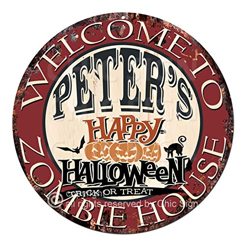 Welcome to The Peter'S Happy Halloween Zombie House Chic Tin Sign Rustic Shabby Vintage Style Retro Kitchen Bar Pub Coffee Shop Man cave Decor Gift Ideas ()