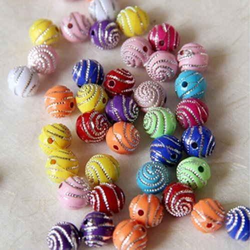 Baost 100Pcs 10mm Mixed Color Spiricle Pattern Plastic Round Loose Beads Jewelry Making Beading Charm for Bracelets, Necklaces, Key Chains, Kids DIY Crafts Random