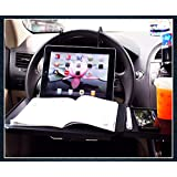 Zone Tech Multi-Functional Portable Foldable Car Seat Tray - Black Table/Car Vehicle Seat Portable Mount Tray Laptop Notebook Table Eating Desk Auto Food Drink Cup Holder with Extended Pull Type Small Table