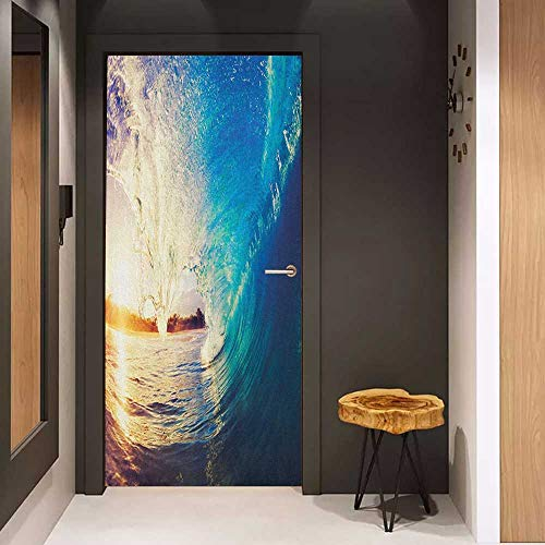 - Onefzc Soliciting Sticker for Door Ocean Sunrise on Waves Surfer Perspective Surreal Coastal Charm Sports Lifestyle Scene Mural Wallpaper W17.1 x H78.7 Blue Pale Mauve