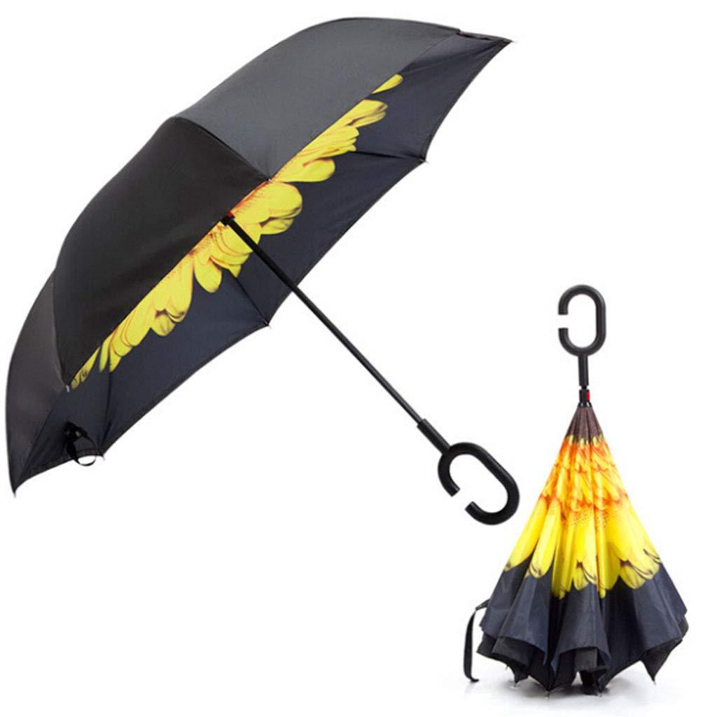 Vivianu Paraguas de doble capa con mango en forma de C ...