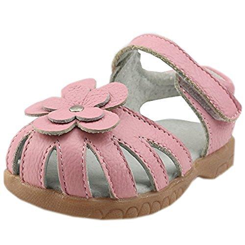 Orgrimmar Girls Sandals Genuine Leather Soft Flower Princess Flat Shoes Girl Summer Sandals Closed Toe Shoes(8.5 M US Toddler,Pink)