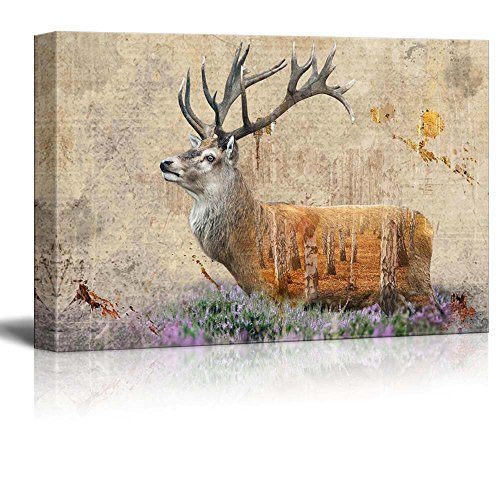 Double Exposure Rustic Deer in a Field of Lavender