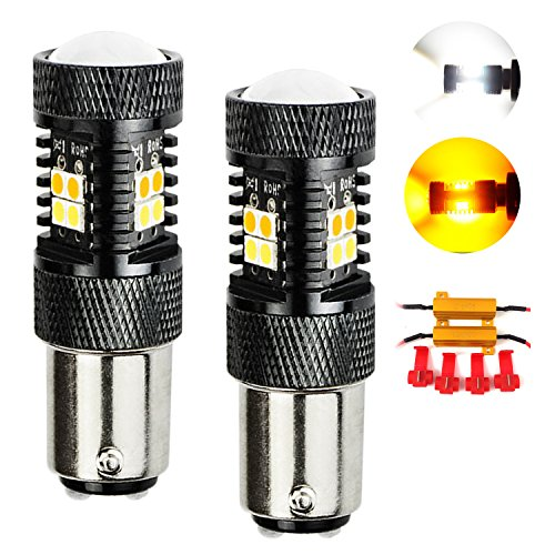 VehiCode Super Bright LED SwitchBack Bulb 1157 (2357/2057/7528/1076/1142/3496) w/No Hyper Flash Load Resistors - White/Amber(Yellow) Replacement for Turn Signal and DRL (Daytime Running Light)