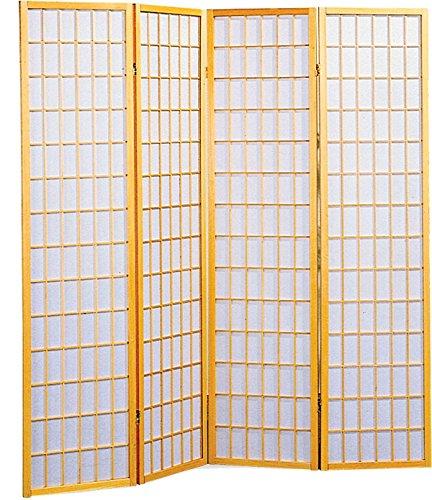 Legacy Decor 4 Panel Shoji Screen Room Divider, Natural Finish (Natural) (70 1/4