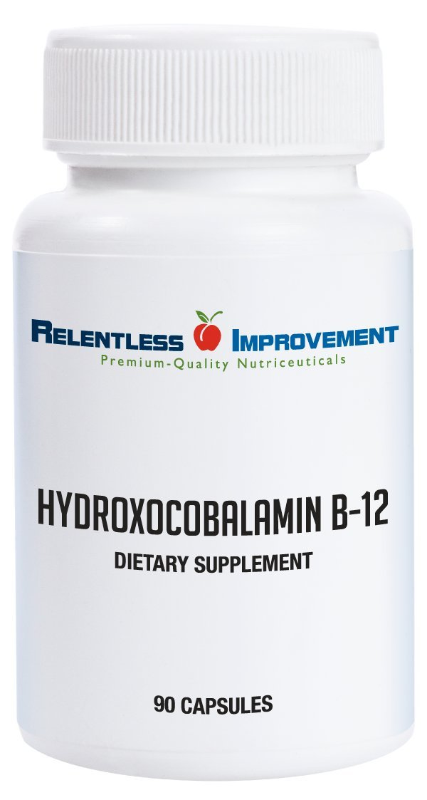 Relentless Improvement Hydroxocobalamin Vitamin B12 2mg Highly-Bioavailable Low Excipient Formulation 90 Capsules