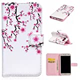Uming® Relief Embossed Painted Colorful Pattern Print PU case [ White plum | for Samsung Galaxy S5 I9600 S5Neo ] Artificial-leather Flip Holster with Stand Holder Credit Card Slot Wallet Hasp Magnet Magnetic Button Buckle Shell Protective Mobile Cellphone Case Cover Bag