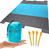 Ell eco Beach Blanket, Huge 9' x 7 6 Pockets, Durable Waterproof Sand Proof Outdoor Picnic Blanket Camping, Travel, Hiking - Ultra Strong Parachute Nylon, Compact, Lightweight 1.10lb