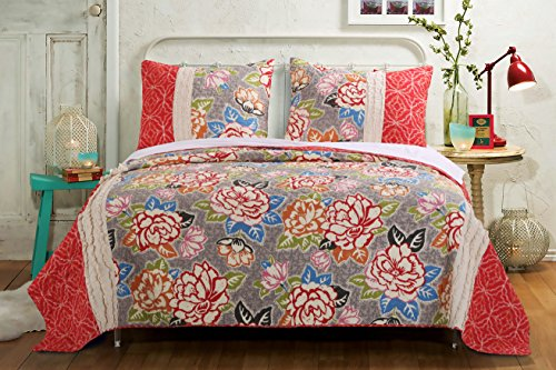 Barefoot Bungalow Gypsy Rose Quilt Set, 3-Piece King, 4 from Barefoot Bungalow