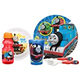 Zak! Designs Mealtime Set, Plate, Bowl, Tumbler, Water Bottle, Fork & Spoon with Thomas The Train Graphics, BPA-Free, 6 Piece Set