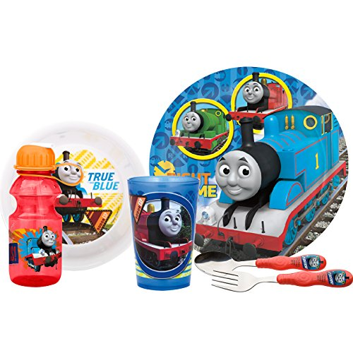 (Zak! Designs Mealtime Set, Plate, Bowl, Tumbler, Water Bottle, Fork & Spoon with Thomas The Train Graphics, BPA-Free, 6 Piece Set)