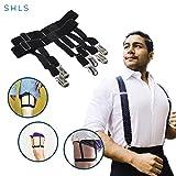 SHLs Shirt Stays | Shirt Suspenders & Holders for Men with Elastic Metal Clips