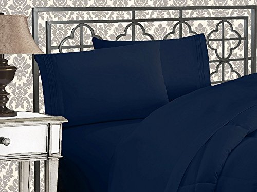 Elegant Comfort 4-Piece 1500 Thread Count Egyptian Quality Bed Sheet Sets with Deep Pockets, California King, Navy