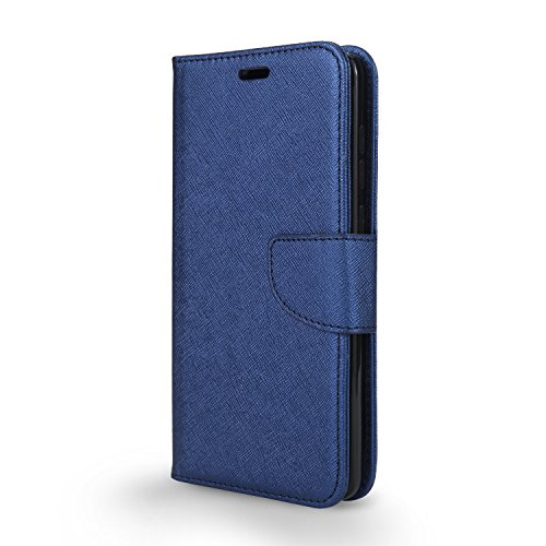 T-Mobile REVVL Plus Case, Coolpad REVVL Plus Case, Wallet S0270UU with PU Leather Flip Stand Pouch w. TPU Inner Case w. Clear Screen Protector Film (WAL Blue + Screen Protector)