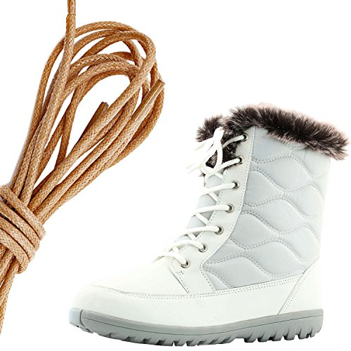 DailyShoes Womens Comfortable Round Toe Flat Ankle High Eskimo Winter Fur Snow Boots, Brown Ivory Pu