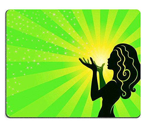 Luxlady Mousepad Illustration of a fairy girl who makes a wish and blows the stardust IMAGE 23638020