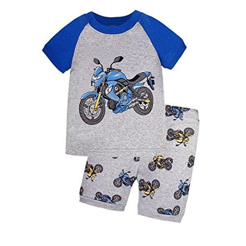 Short Motorcycle (Dizoon Motorcycle Boys Short Sleeve Pajamas Sets 2 Pieces Grey T6)