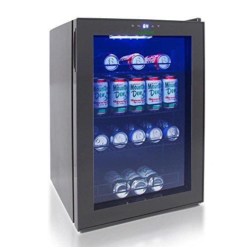 NutriChef 77 Can Beverage Cooler Refrigerator with Glass Door  Beer Cooler Fridge Center.