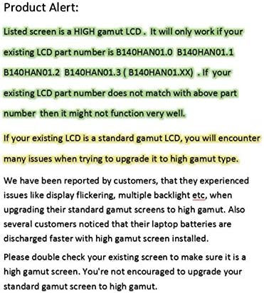 Substitute Replacement LCD Screen ONLY. NOT A Laptop AU Optronics B140HAN01.1 Laptop LCD Screen 14.0 Full-HD LED DIODE