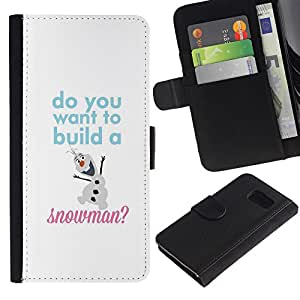 For Samsung Galaxy S6 SM-G920,S-type® Snowman Quote White Winter Text - Dibujo PU billetera de cuero Funda Case Caso de la piel de la bolsa protectora