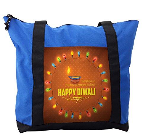 Lunarable Diwali Shoulder Bag, Traditional Motif Pattern, Durable with Zipper by Lunarable