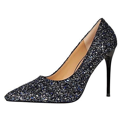 Aalardom Mujeres Solid Kitten-heels Punky-toe Pull-on Pumps-Zapatos Con Lentejuelas Azul