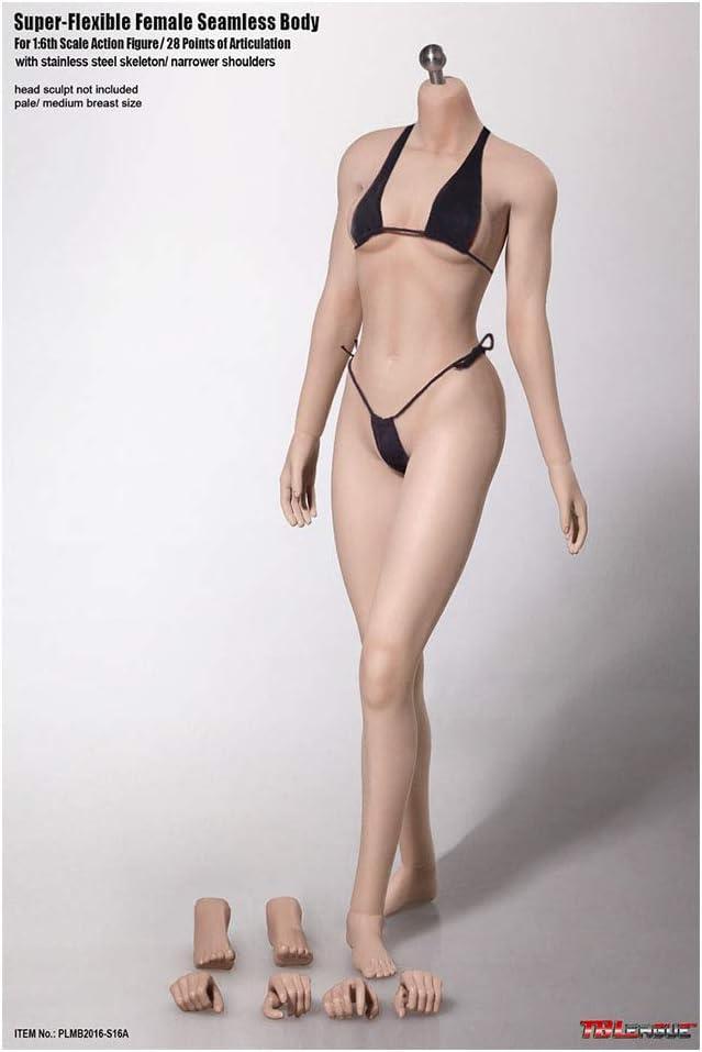 1/6 Figurines Articulées Féminines, Os en Acier, Poitrine Moyenne, épaules étroites (S16A Mid Chest,White) S16a Mid Chest,white