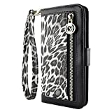 Galaxy S6 Edge Plus Wallet Case, caseen Ferina Wallet Case (Leopard) w/ Coin Zip Purse, Credit Card Slot Holders, Multi-Angle Stand for Samsung Galaxy S6 Edge Plus