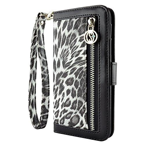 caseen Leopard Print iPhone 6 / 6S Wallet Case (Black/White) - Ferina Series