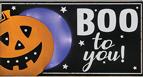 Cute Lighted Pumpkin or Owl Halloween Standing Signs - Tabletop Decorations (Pumpkin) -