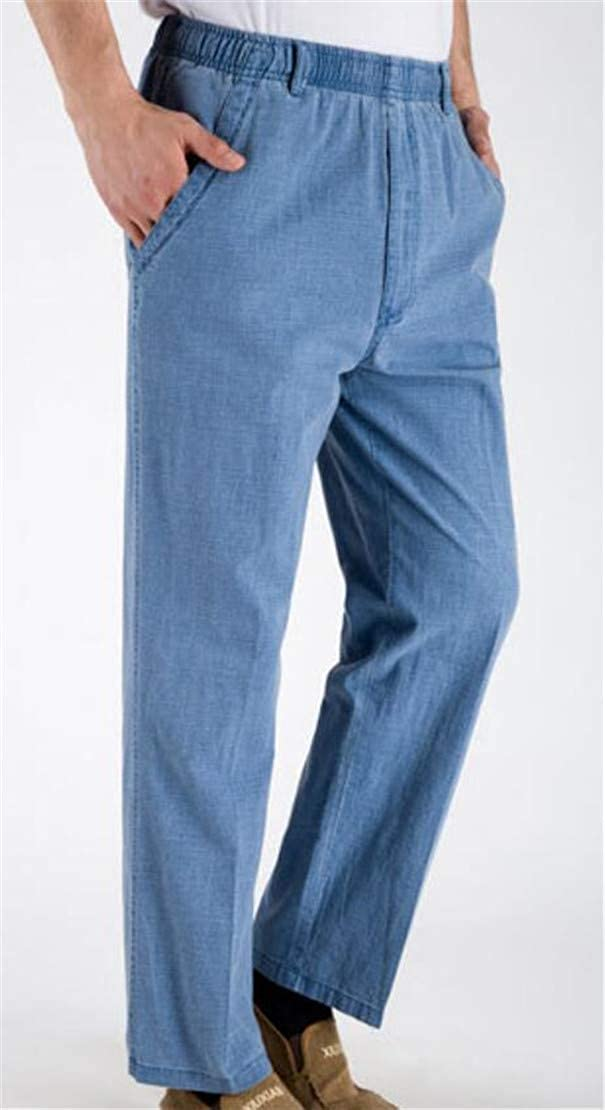 Gnao Men Elastic Waist Pockets Linen Casual Flat Front Long Pants