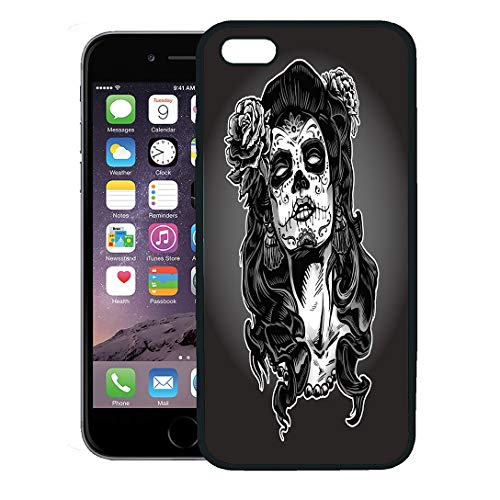 Semtomn Phone Case for iPhone 8 Plus case,Gray Tattoo Woman Sugar Skull Face Paint Dead Day Zombie Halloween iPhone 7 Plus case Cover,Black -