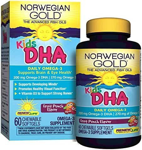 Renew Life Norwegian Gold  Kids Fish Oil - Kids DHA, Fish Oil Omega-3 Supplement - Gluten & Dairy Free - 60 Chewable Softgels