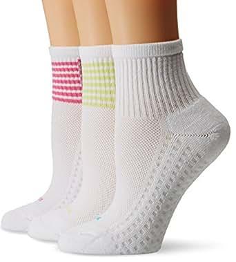 Hue Women's Air Cushion Mini Crew Sock 3-Pack, Lime Juice Blocked Stripe, One Size
